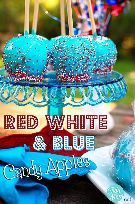 Red White and Blue Candy Apples | 25+ Patriotic Treats