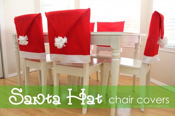 Santa Hat chair covers | 25+ easy DIY Christmas decor