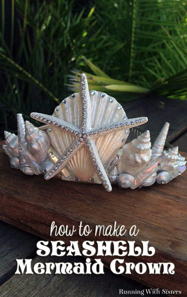 DIY Mermaid Crafts - Seashell Mermaid Crown - How To Make Room Decorations, Art Projects, Jewelry, and Makeup For Kids, Teens and Teenagers - Mermaid Costume Tutorials - Fun Clothes, Pillow Projects, Mermaid Tail Tutorial http://diyprojectsforteens.com/diy-mermaid-crafts