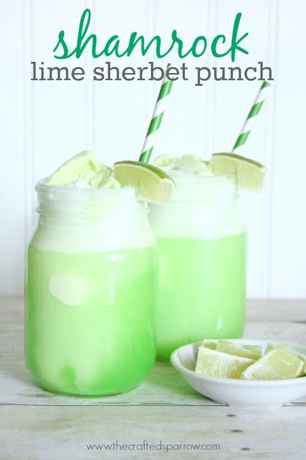 Shamrock Lime Sherbet Punch | Top 50 St. Patrick's Day Green Food - have fun with St. Patrick's Day and surprise your family and friends with these fun, festive green recipes!