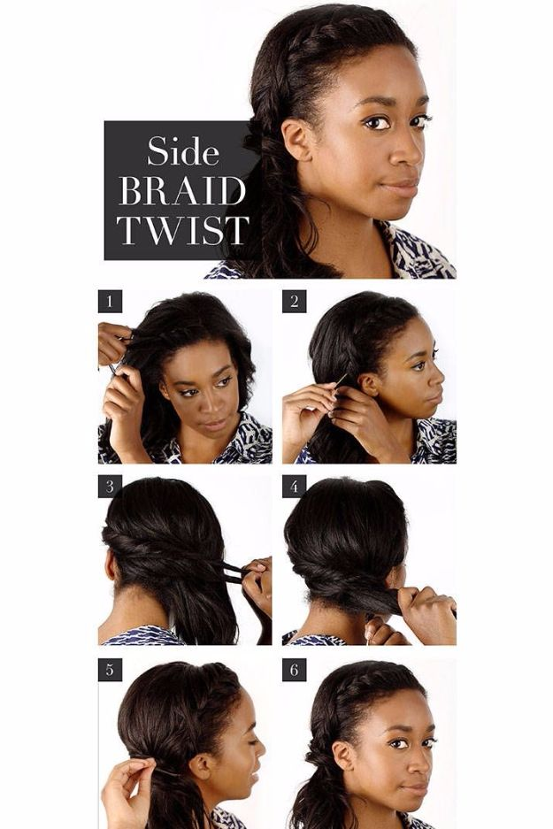 Easy Braids With Tutorials - Side Braid Twist - Cute Braiding Tutorials for Teens, Girls and Women - Easy Step by Step Braid Ideas - Quick Hairstyles for School - Creative Braids for Teenagers - Tutorial and Instructions for Hair Braiding http://diyprojectsforteens.com/easy-braids-tutorials