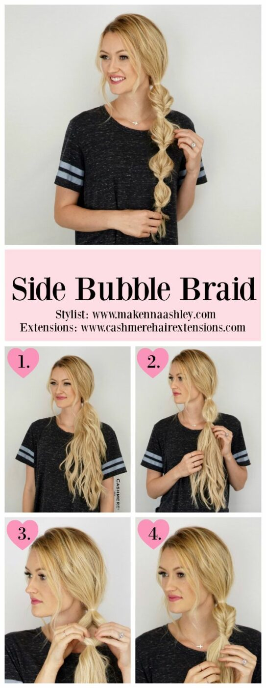 Easy Braids With Tutorials - Side Bubble Braid - Cute Braiding Tutorials for Teens, Girls and Women - Easy Step by Step Braid Ideas - Quick Hairstyles for School - Creative Braids for Teenagers - Tutorial and Instructions for Hair Braiding http://diyprojectsforteens.com/easy-braids-tutorials