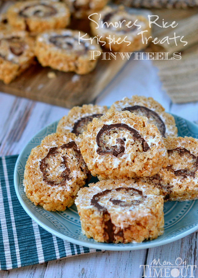 S'mores Rice Krispie Treat Pinwheels | 25+ Rice Krispie Treat Ideas