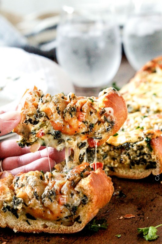 Spinach Dip Stuffed French Bread | 25+ Spinach Recipes