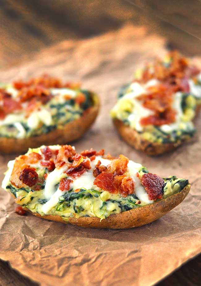 Spinach Stuffed Sweet Potato Skins | 25+ Potato Skin Recipes