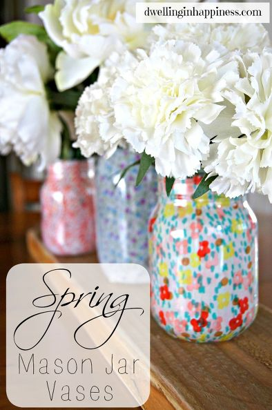 Spring mason jar vases | 25+ May Day ideas