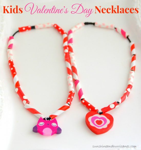 Straw Necklaces | 25+ Valentine Crafts for Kids