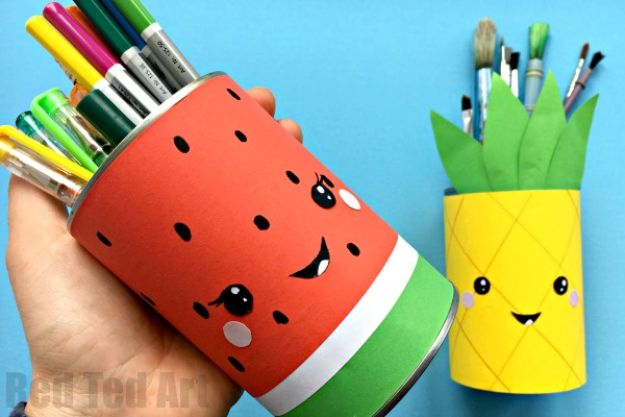 Watermelon Crafts - Summer Pencil Holders - Easy DIY Ideas With Watermelons - Cute Craft Projects That Make Cool DIY Gifts - Wall Decor, Bedroom Art, Jewelry Idea