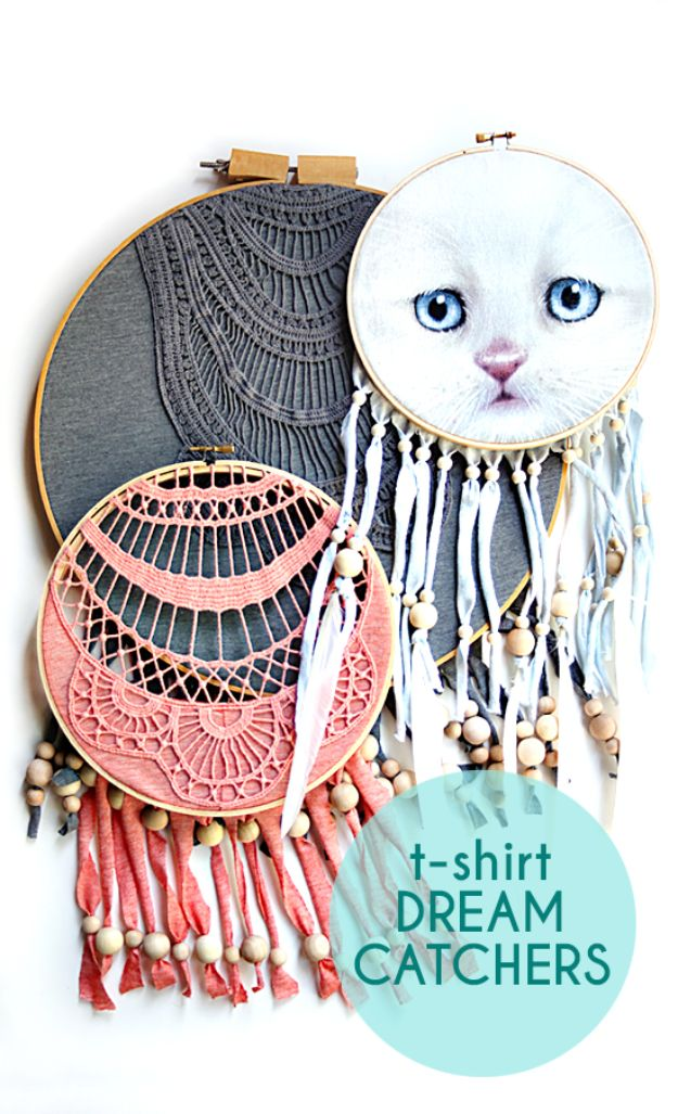 DIY Dream Catchers - T-Shirt Dreamcatcher - How to Make a Dreamcatcher Step by Step Tutorial - Easy Ideas for Dream Catcher for Kids Room - Make a Mobile, Moon Designs, Pattern Ideas, Boho Dreamcatcher With Sticks, Cool Wall Hangings for Teen Rooms - Cheap Home Decor Ideas on A Budget http://diyprojectsforteens.com/diy-dreamcatchers