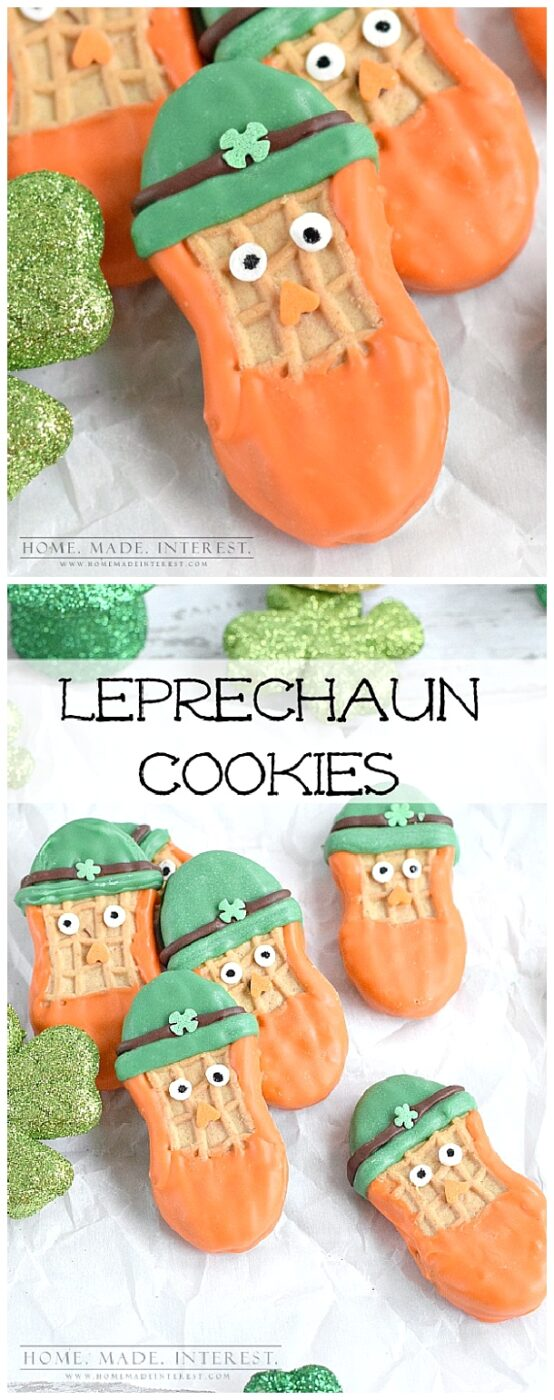"""""""These leprechaun cookies are a fun and easy St. Patrick's day treat for St. patrick's day parties or just a treat for the kids."""" viaHome. Made. Interest. #easystpatricksdaydesserts #stpatricksday #stpatricksdayparty #stpatricksdaypartyfood #lucky #luckygreen #luckytreats #shamrocks #clovers #rainbowtreats #leprechantreats"""