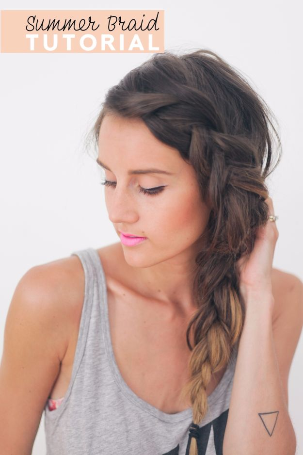Easy Braids With Tutorials - Thick Summer Braid - Cute Braiding Tutorials for Teens, Girls and Women - Easy Step by Step Braid Ideas - Quick Hairstyles for School - Creative Braids for Teenagers - Tutorial and Instructions for Hair Braiding http://diyprojectsforteens.com/easy-braids-tutorials