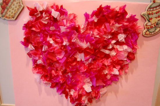 Tissue Paper Hearts | 25+ Valentine Crafts for Kids