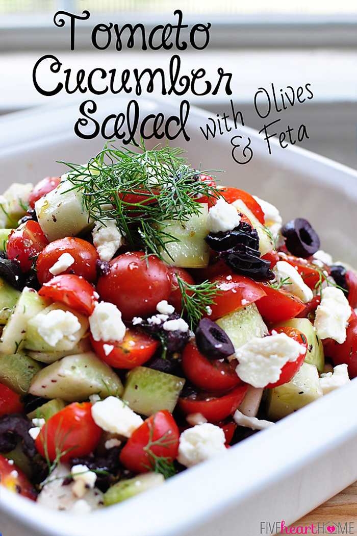 Tomato Cucumber Salad with Olives and Feta | 25+ fresh tomato recipes
