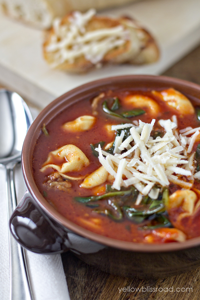 Tortellini soup with Italian sausage spinach   25+ delicious soup recipes