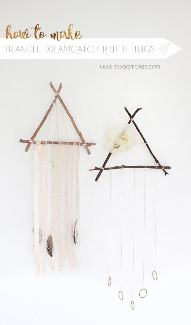 DIY Dream Catchers - Triangle Dreamcatcher with Twigs - How to Make a Dreamcatcher Step by Step Tutorial - Easy Ideas for Dream Catcher for Kids Room - Make a Mobile, Moon Designs, Pattern Ideas, Boho Dreamcatcher With Sticks, Cool Wall Hangings for Teen Rooms - Cheap Home Decor Ideas on A Budget http://diyprojectsforteens.com/diy-dreamcatchers