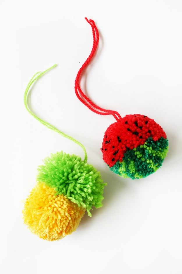 Watermelon Crafts - Tropical Fruit Pom Poms - Easy DIY Ideas With Watermelons - Cute Craft Projects That Make Cool DIY Gifts - Wall Decor, Bedroom Art, Jewelry Idea