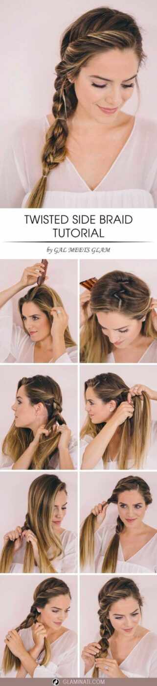 Easy Braids With Tutorials - Twisted Side Braid - Cute Braiding Tutorials for Teens, Girls and Women - Easy Step by Step Braid Ideas - Quick Hairstyles for School - Creative Braids for Teenagers - Tutorial and Instructions for Hair Braiding http://diyprojectsforteens.com/easy-braids-tutorials