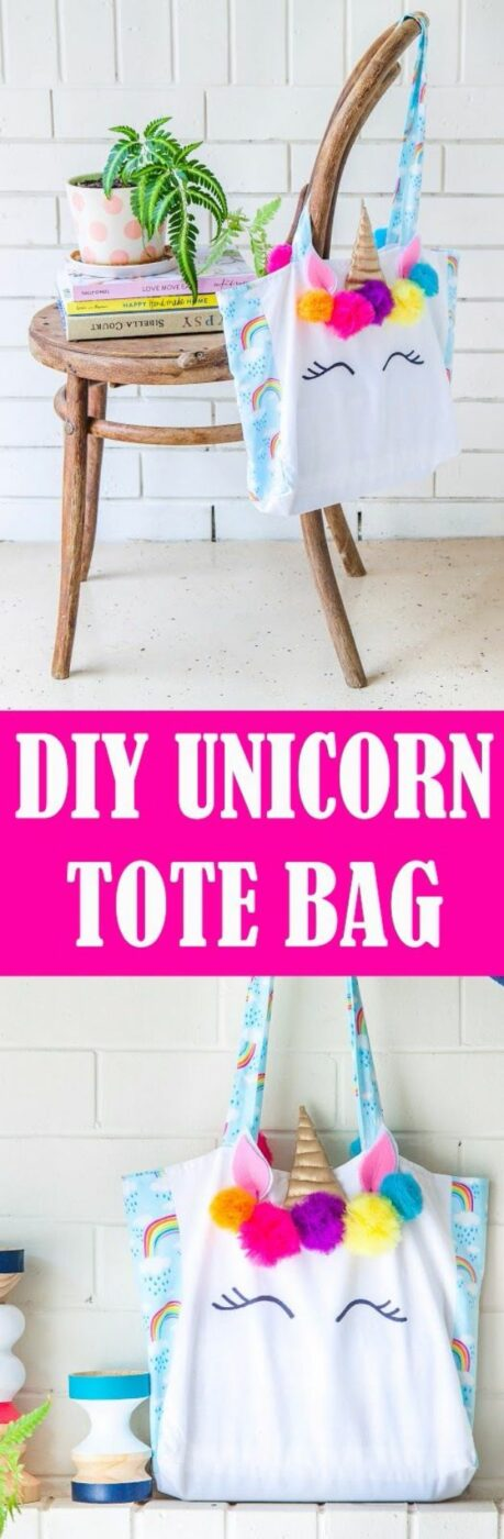 DIY Ideas With Unicorns - Unicorn Tote Bag - Cute and Easy DIY Projects for Unicorn Lovers - Wall and Home Decor Projects, Things To Make and Sell on Etsy - Quick Gifts to Make for Friends and Family - Homemade No Sew Projects and Pillows - Fun Jewelry, Desk Decor Cool Clothes and Accessories http://diyprojectsforteens.com/diy-ideas-unicorns