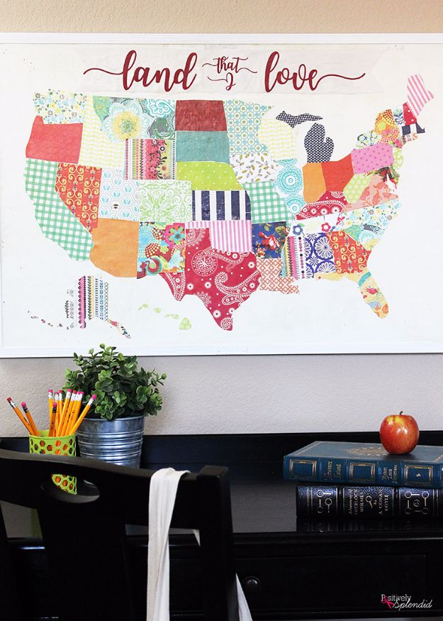 Mod Podge Crafts - United States Mod Podge Bulletin Board - DIY Modge Podge Ideas On Wood, Glass, Canvases, Fabric, Paper and Mason Jars - How To Make Pictures, Home Decor, Easy Craft Ideas and DIY Wall Art for Beginners - Cute, Cheap Crafty Homemade Gifts for Christmas and Birthday Presents http://diyjoy.com/mod-podge-crafts