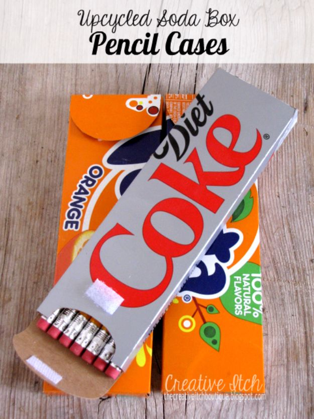 DIY School Supplies - Upcycled Soda Box Pencil Cases - Easy Crafts and Do It Yourself Ideas for Back To School - Pencils, Notebooks, Backpacks and Fun Gear for Going Back To Class - Creative DIY Projects for Cheap School Supplies - Cute Crafts for Teens and Kids http://diyprojectsforteens.com/diy-back-to-school-supplies
