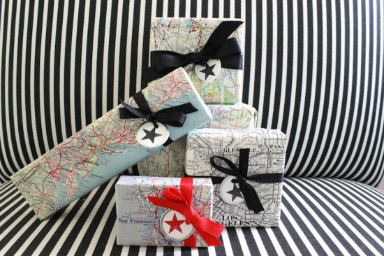 Vintage Map Gift Wrap | 25+ Creative Gift Wrap Ideas