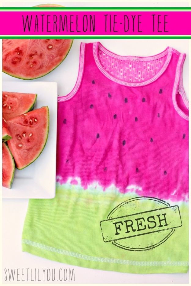 Watermelon Crafts - Watermelon Tie Dye Tee - Easy DIY Ideas With Watermelons - Cute Craft Projects That Make Cool DIY Gifts - Wall Decor, Bedroom Art, Jewelry Idea