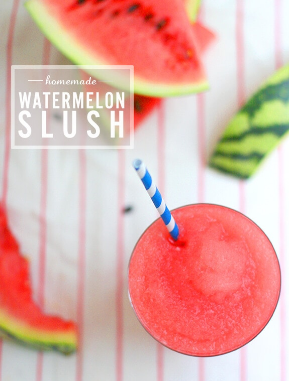 "Homemade Watermelon Slush + 25 Mouth-Watering Watermelon Desserts...the perfect refreshment that shouts, ""Summertime is here!"""