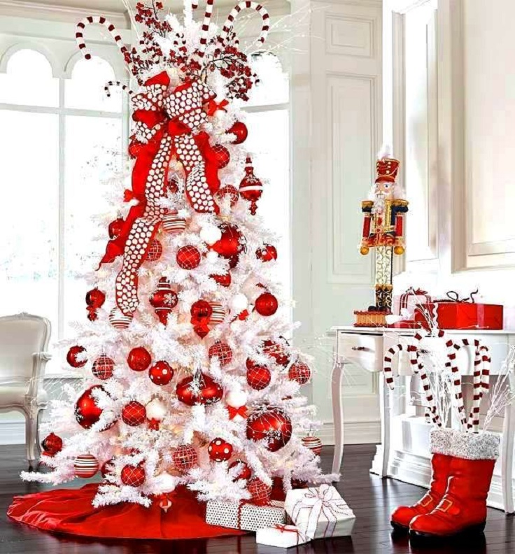White Christmas Tree with Red Oraments