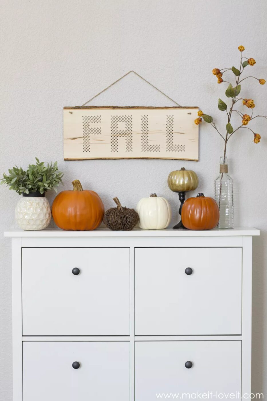DIY Wood Plank Cross Stitch Fall Decor