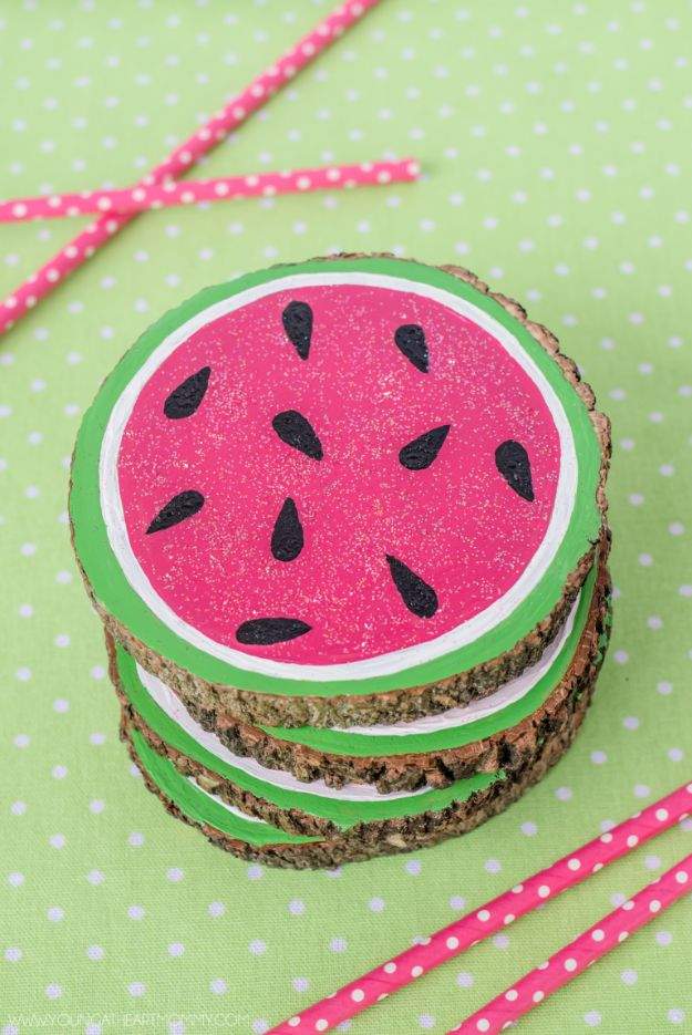 Watermelon Crafts - Wooden Watermelon Coasters - Easy DIY Ideas With Watermelons - Cute Craft Projects That Make Cool DIY Gifts - Wall Decor, Bedroom Art, Jewelry Idea
