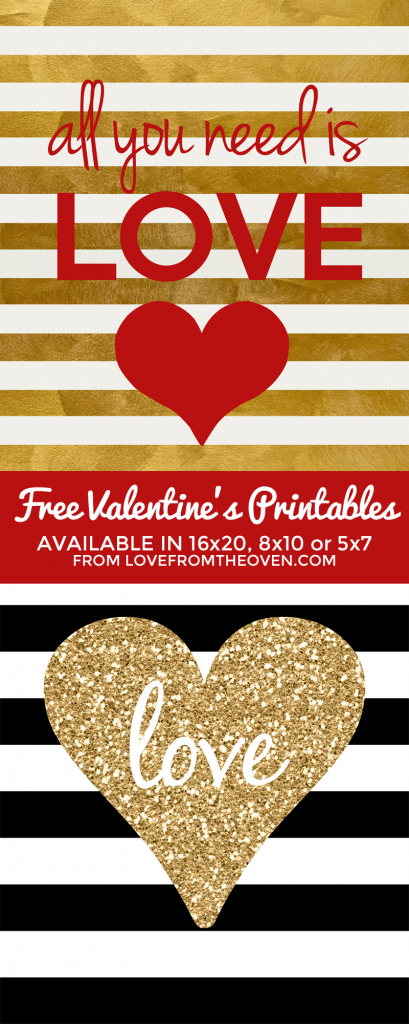 all you need is LOVE free Valentine's Day printables