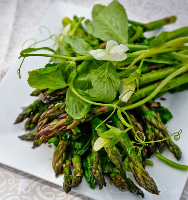 Asparagus, Green Garlic, and Pea Tendrils