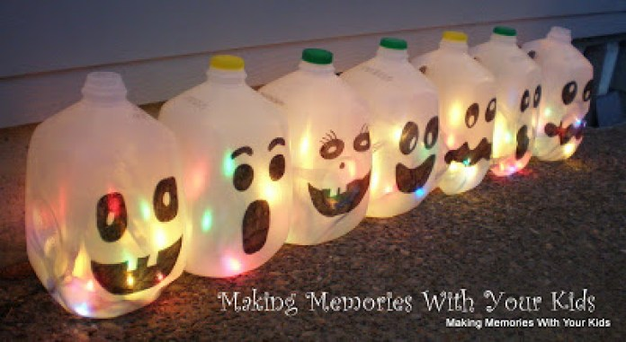 Colorful Milk Jug Halloween Luminary DIY
