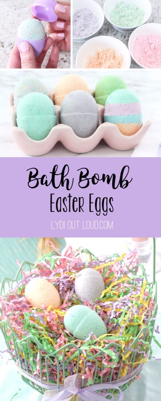 Fill your kid's Easter baskets with more than just candy, these DIY bath bomb Easter eggs are so cute and easy to make! #eastercraft #bathbomb #springcraft