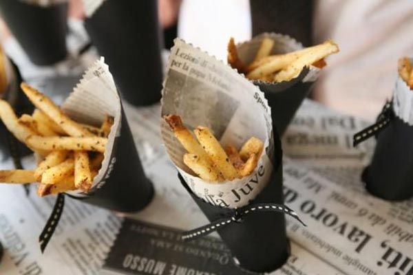black and white cup with french fries | 25+ Oscar Party Ideas