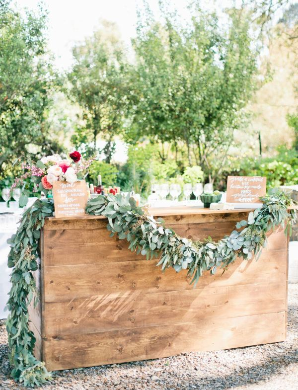 Wine Bar with Greenery Vine Ideas for Wedding Showers