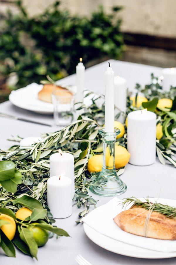 Summer Wedding Decoration Ideas Lemon + Greenery Table Scatter