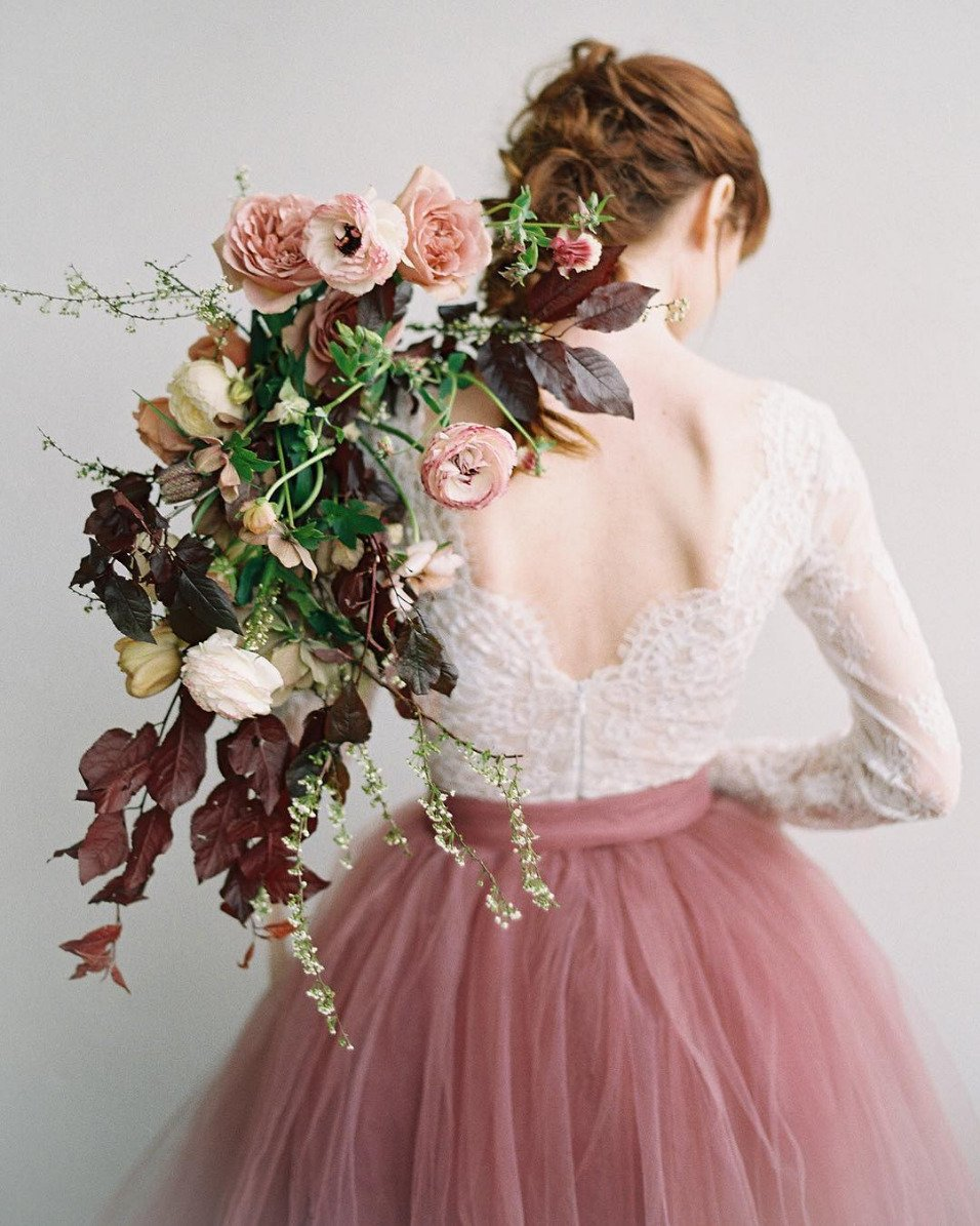 lace bodice with mauve tulle skirt bridal attire
