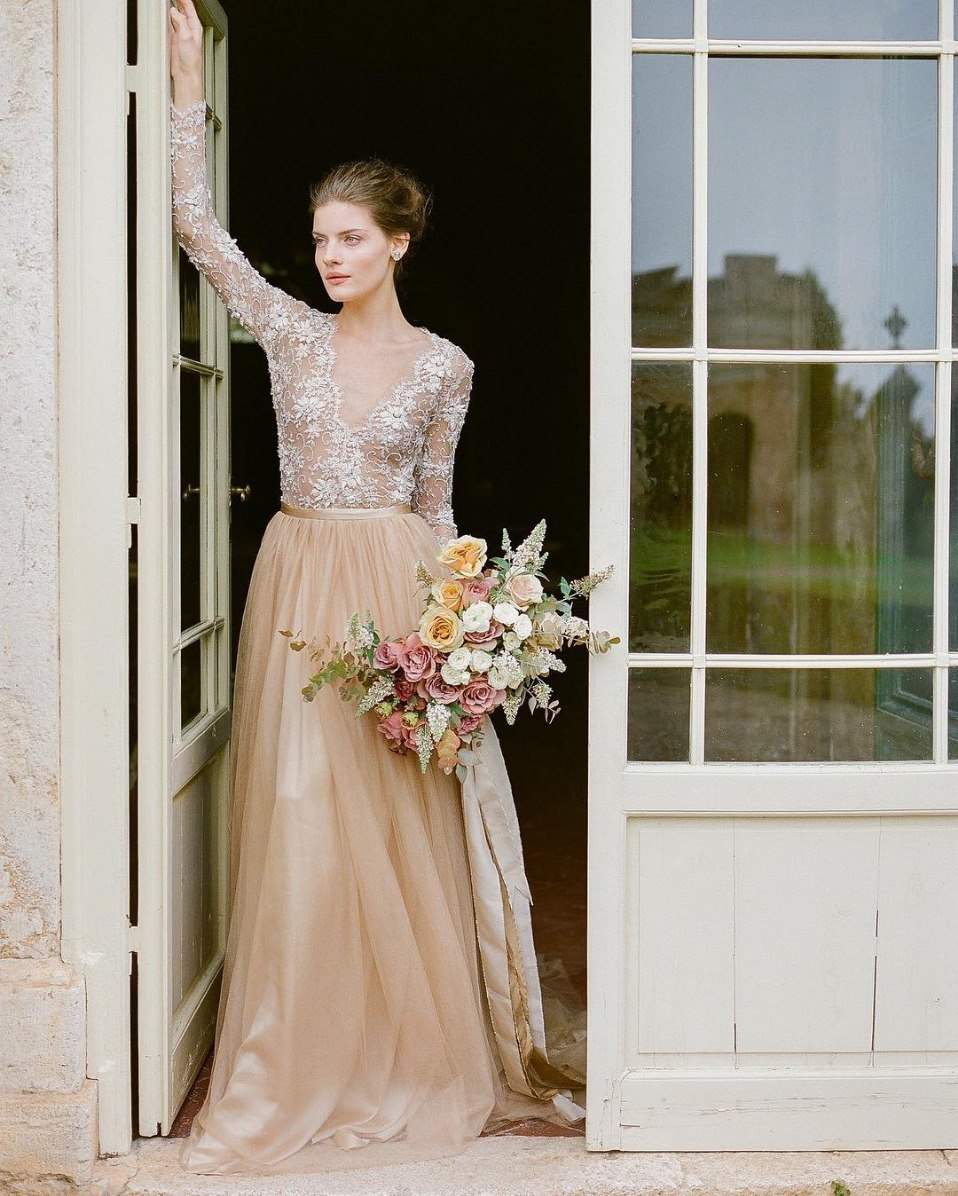 gold wedding dress with tulle maxi skirt