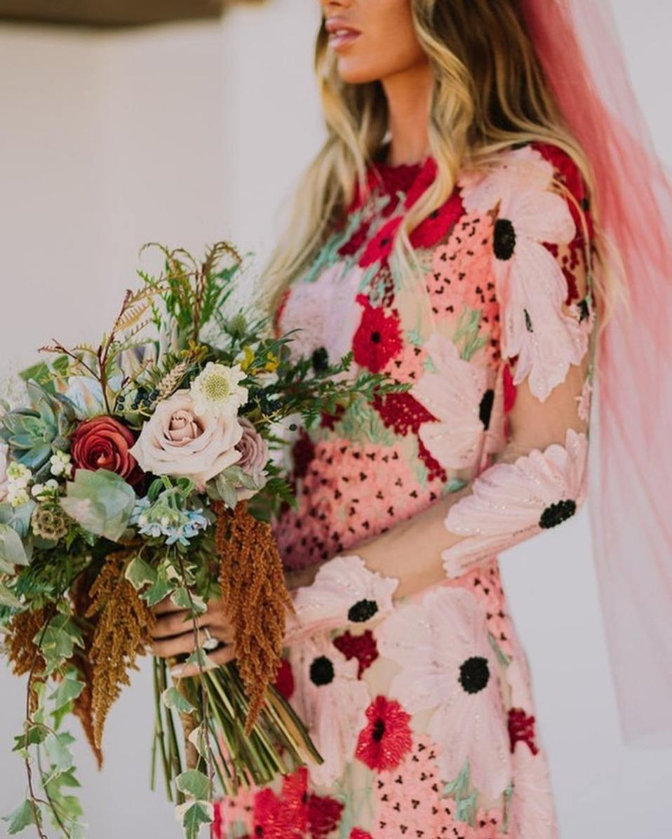 pink and red floral printed wedding dress