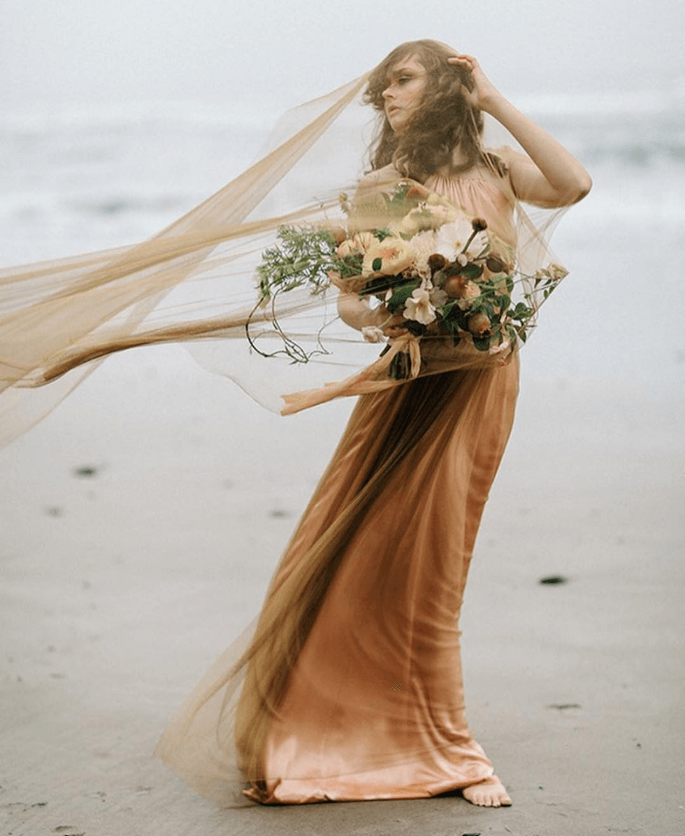 mustard wedding dress with colored veil