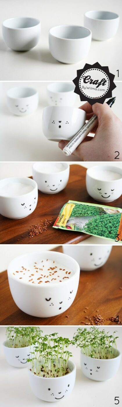 DIY cress cups with a face | 25+ Sharpie Crafts