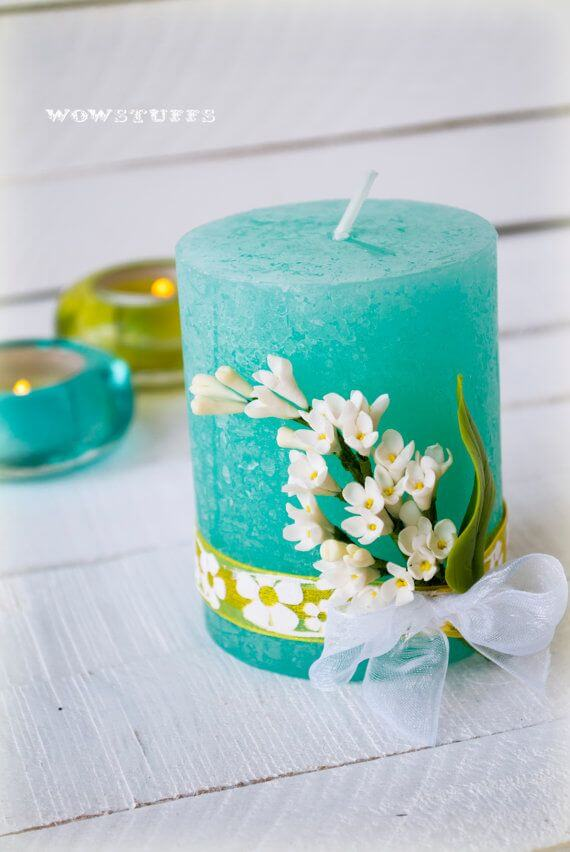 Faux Flowers and Ribbon Decorated Candle