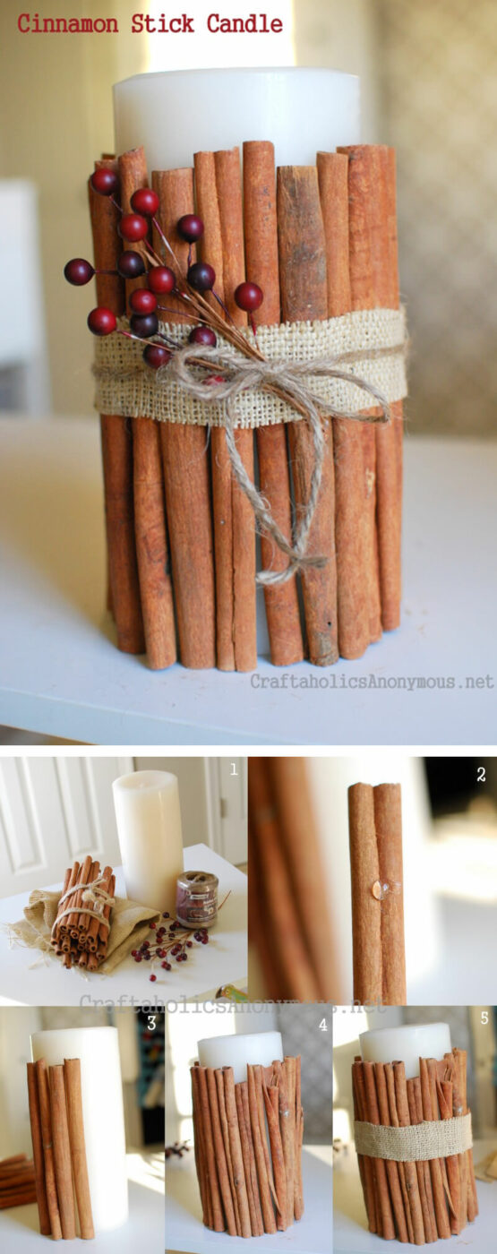 Cinnamon Stick Decorated Candle Ideas