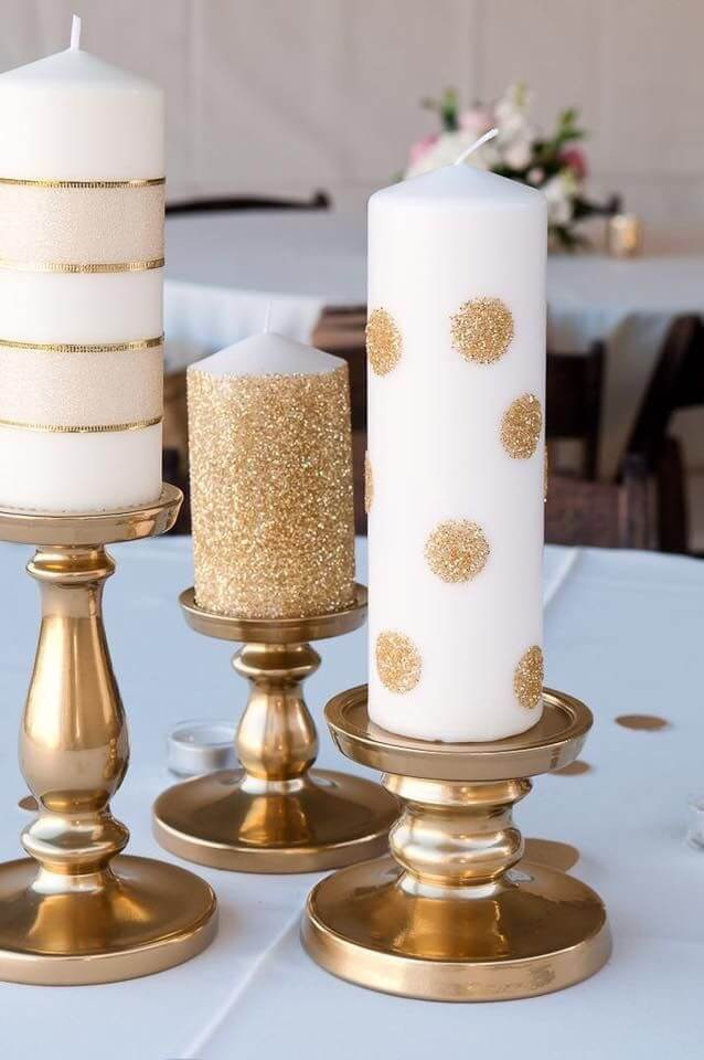 Gold Glitter Decorated Candle Ideas