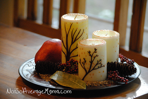 Painted Candle Centerpiece