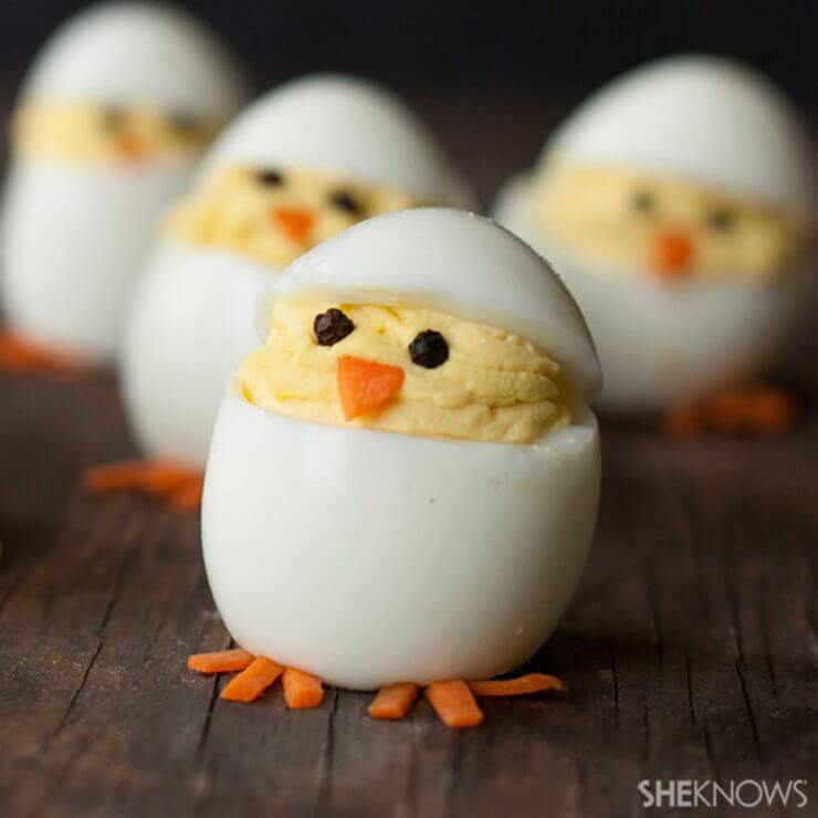 Deviled egg hatching chicks + Top 50 Easter Brunch Recipes that will please every guest on your list!