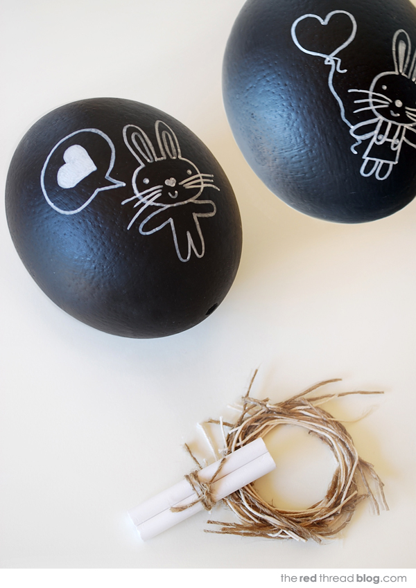 Have spring decorating ADD? Add a coat of chalkboard paint to these Easter eggs to switch up your sayings and designs all spring long! #eastereggs #diy #chalkboardeggs #springdecor