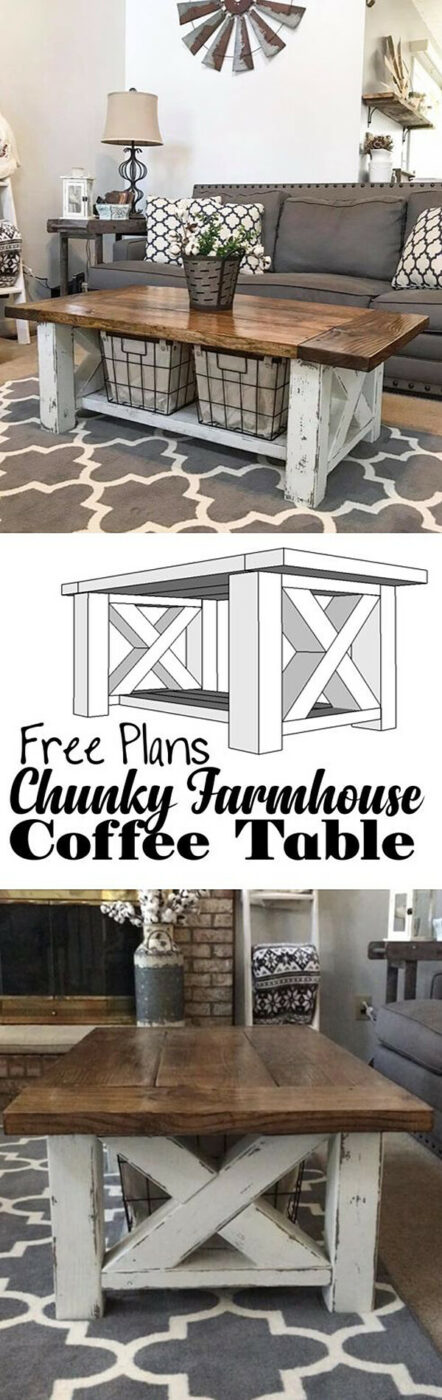 Cross Chunky Farmhouse Coffee Table Ideas