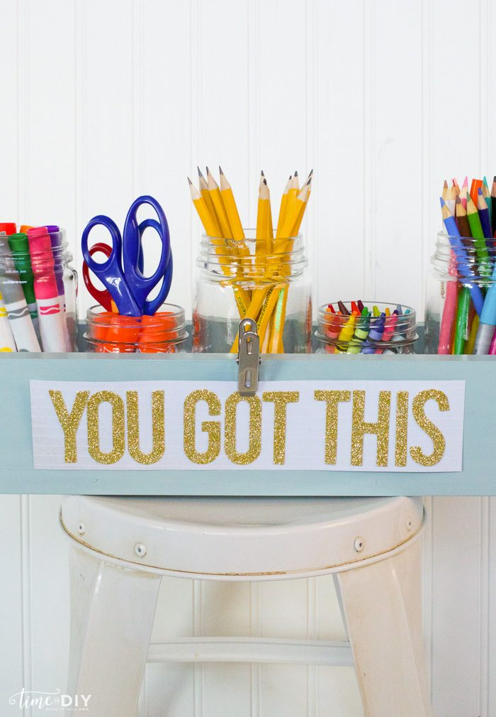 DIY Wood Caddy tutorial. Step by step to make this easy homework caddy, great way to coral your kids school supplies! Love this easy wood caddy tutorial!